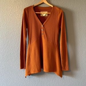 Anthropologie Maeve Rust Long Sleeve Button Blouse
